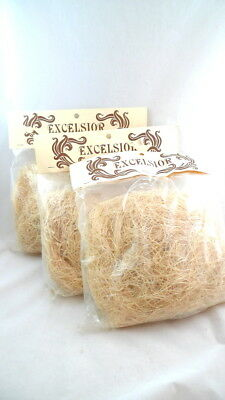 3 Bags NATURAL EXCELSIOR Basket Filler Padding Easter Dried Flower Arranging
