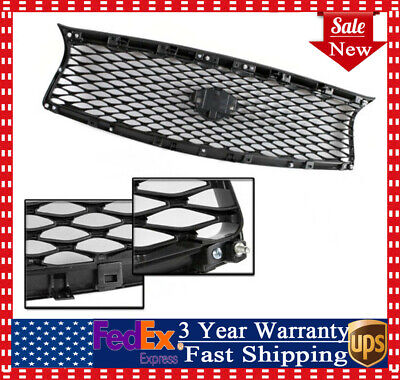 Front Mesh Upper Grill Replacement For 14-17 Infiniti Q50 ABS Plastic Stylish