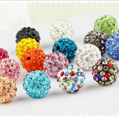 100PC Czech Crystal Rhinestones Pave Clay Round Disco Ball Spacer Beads 6-12MM