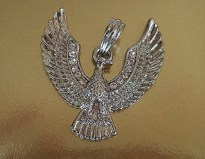 Silver Finish With Crystal Hip hop Bling Bird With Wings Fashion Pendant