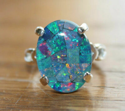 Unique 925 Silver Engagement Australian Opal Ring Wedding Band Jewelry Size 5-10