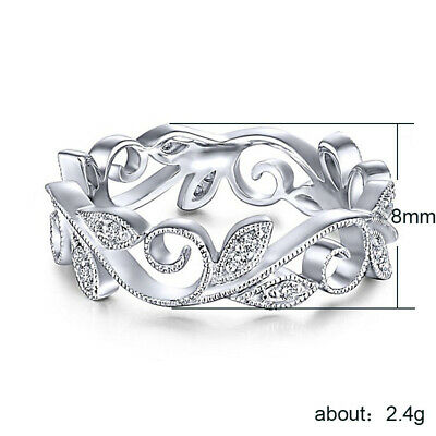 Fashion Leaf Rose Gold Filled Women's Wedding Rings White Sapphire Size 6-10