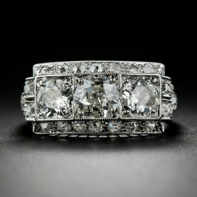 2.8CT White Topaz 925 Silver Ring Women Jewelry Wedding Engagement Size 6-10