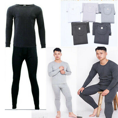 1Set Mens 100%Cotton Merino Wool Top Pants Thermal Leggings Long Johns Underwear