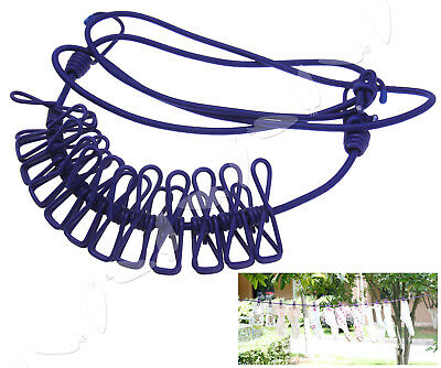 Elastic Washing Clothes Line W/12 Pegs Clips Camping Caravan Travel Boat