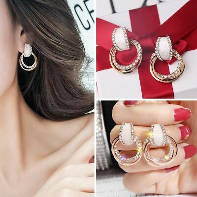 Fashion Classic Women Girl Ear Stud Earring Circle Party Wedding Earring Jewelry