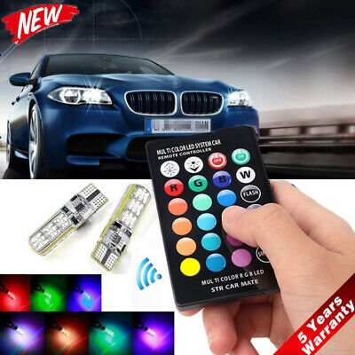 2x T10 W5W 5050 RGB Remote Control Car LED Light 6SMD Colorful Side Light Bulb *