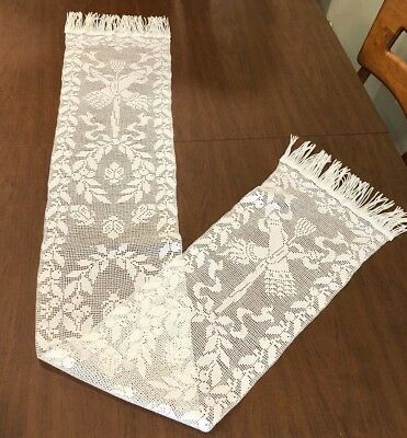 Antique Victorian Handmade Knot Work Lace Ladybug MANTLE SCARF Table Runner