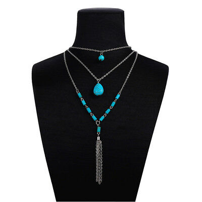 Multi Layer Chain Turquoise Beaded Bohemian Boho Necklace Jewelry Gift D