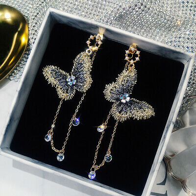 Fashion Crystal Embroidery Butterfly Long Tassel Drop Dangle Earrings Jewelry