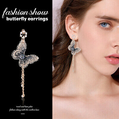 Fashion Embroidery Butterfly Crystal Long Tassel Drop Dangle Earrings Jewelry JT