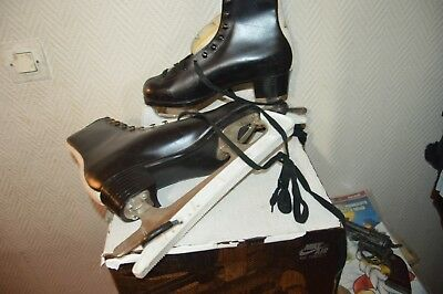 Patin A Glace Patinage Ours Cuir Ice Skate Dance  Leather Taille 40 Vintage