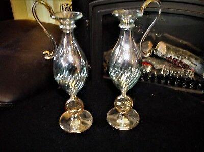 Pair Elegant Gilded Handles Aqua Twist Lustre Shapely Glass Footed Vases 7.75""