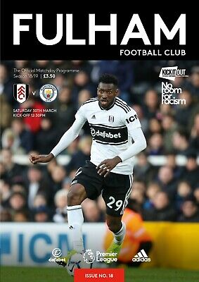 Fulham V Manchester City-Official Programme-Saturday 30Th March 2019