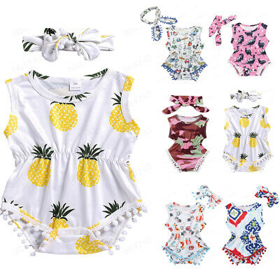 2PC Toddler Baby Girl Print Jumpsuit Romper Bodysuit Sunsuit+Headband Outfit Set