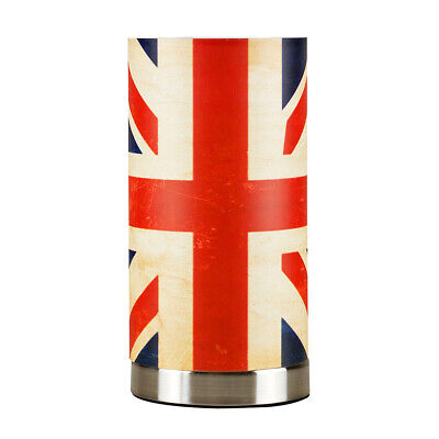Vintage Retro Union Jack Design Finish Touch Dimmer Bedside Table Lights Lamps