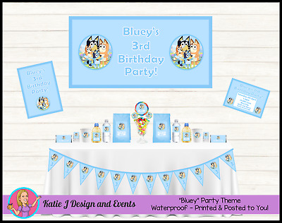 ** Personalised BLUEY Birthday Party Decorations Supplies Favours ABC Kids **