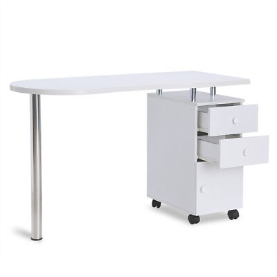 Mobile Professional Manicure Nail Table w/ Drawers Storage Art Beauty Salon Desk
