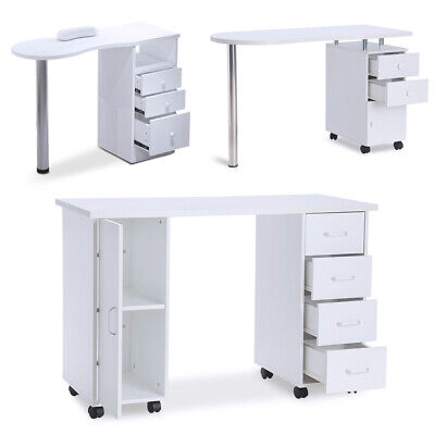 White Manicure Nail Table with Drawers Bar Art Salon Beauty Storage Station Desk
