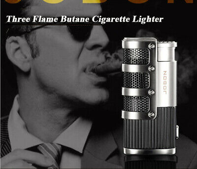 Windproof Three Jet  Flame Refillable Butane gas Cigar lighter
