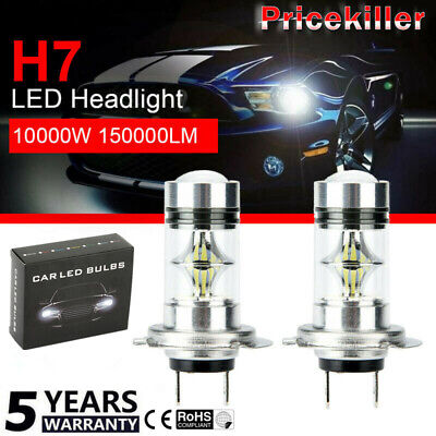 Pair H7 10000W 150000LM Car LED headlight COB Kits Fog light 6000K CREE White JO