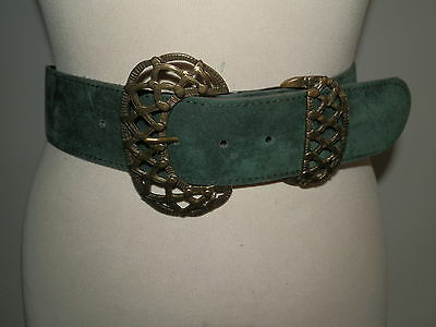 Vintage 1980'S Green Suedette Belt Fancy Deco Style Buckle & Belt Loop  Uk 10-12
