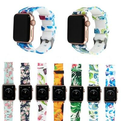 Silicone Watch Band Flower Floral Sport Strap For AP  iWatch Series123 38/42mm