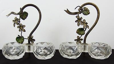 Beautiful Pair of Antique Glass Double Table Salts with Painted Metal Handles
