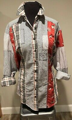 54ffced36 Free People Womens Blue Striped Floral Button Down Shirt Mixed Media Top Sz  XS