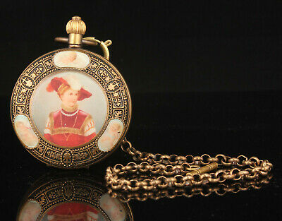 China Handwork Carving Exquisite Retro Bronze Pocket Watch Desktop Ornament