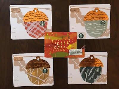 "Canada Series Starbucks ""MINI ACORN SET FALL 2018"" (5) Gift Cards - New No Value"