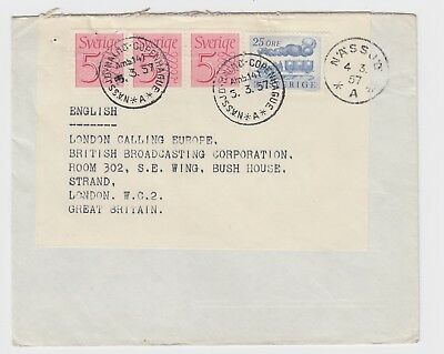 1957 Sweden Cover International TPO No 141 Nassjo - Malmo - Copenhagen Cover