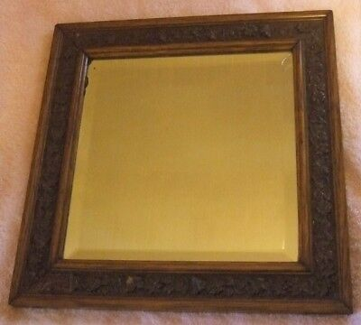 Antique Mirror Beveled Glass Mirror Small Mirror Wood Frame Vintage Mirror Gift