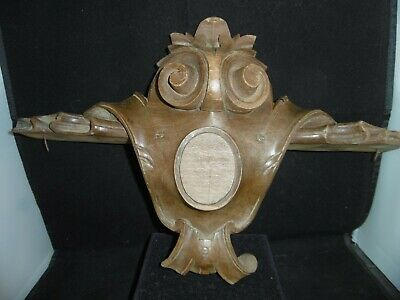 Beautiful antique French hand carved walnut cartouche, garniture, emblem