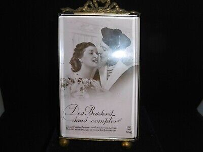 """Antique French bevelled glass and ormolu picture frame. c1860 7"""""""