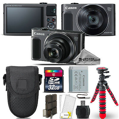 Canon PowerShot SX620 HS Digital Camera Black + Spider Tripod + Case - 32GB Kit