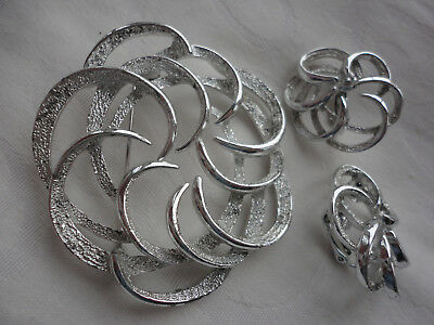 """Silverplated signed SARAH COV deco """"TAILORED SWIRL"""" demi parure clips + brooch"""