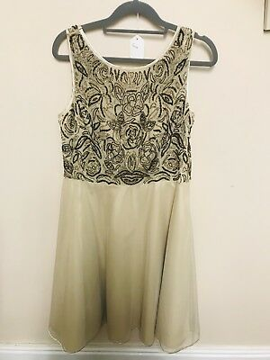 f1930c11 Stunning Monsoon Gold Sequin Lined Occasion Dress Bnwt Size 14 Look!! Rrp  £150