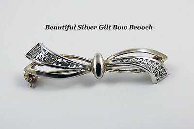 Lovely Sterling Silver 925 and Gilt  Bow Shaped Brooch