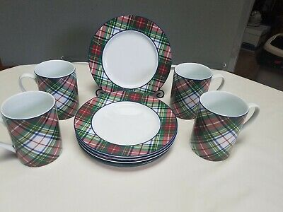 Ralph Lauren Plaid Salad Plate And Coffee Cup/Mug set of 4 each