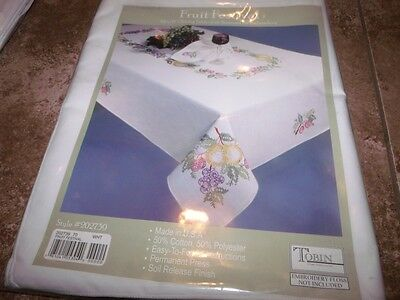 """Tobin Stamped Tablecloth FRUIT FESTIVAL 50"""" x 70""""  Cross Stitch Smooth Cotton"""