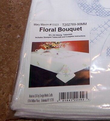 "Tobin Stamped Cross Stitch Embroidery Tablecloth FLORAL BOUQUET 58"" x 90"""
