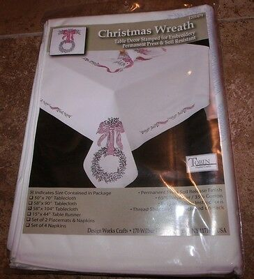 "Tobin Stamped Tablecloth CHRISTMAS WREATH 58"" x 104""   Embroidery"