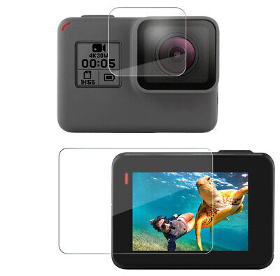 Tempered Glass Screen Protector for Black Go Pro Hero 7 6 5 Lens Camera + LCD