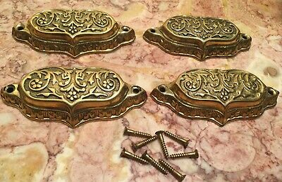 4 Vintage Solid Brass Victorian Drawer Handle Cup Pulls