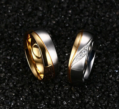 18K Gold Plated CZ Stainless Steel Couple Ring Men/Women Wedding Band 5-10