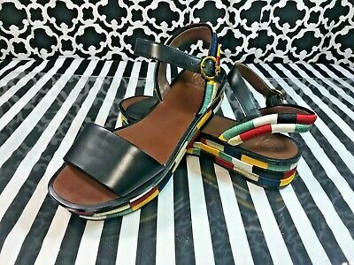 19c60dfafaff Tory Burch Camilla 40mm Platform Calf Leather Colorblock Sandals - Sz. 10 M