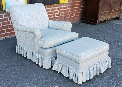Vintage 1940s Upholstered Living Room Armchair w/ Ottoman