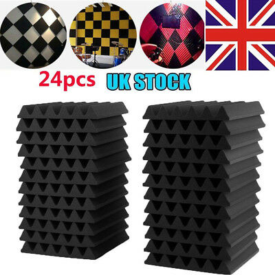 12/24PCs Acoustic Panels Tiles Studio Sound Absorption Insulation Closed Foam UK