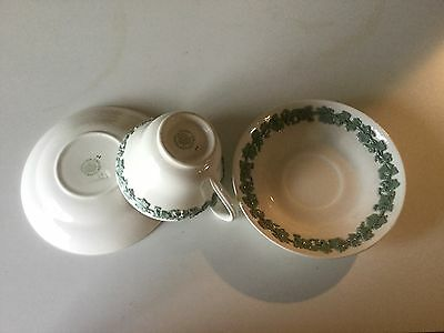 1 Cup & 2 Saucer s WEDGWOOD CELADON Green on CREAM Embossed Queen's Ware Plain